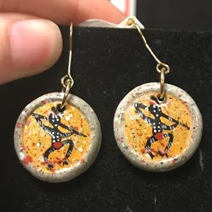 African Tribal Clay Medallion Painted Earrings